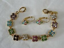 JOAN RIVERS COLORFUL SPRING FLORAL CRYSTAL SPARKLE BRACELET W/ MATCHING EARRINGS