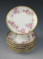 7 Haviland Limoges Butter Pats PINK ROSES and Gold Porcelain France Plates