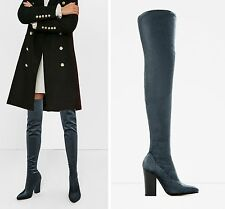 ZARA Velvet Stretch OVER THE KNEE High Heel Boots Size UK 4/ EU 37- Ref 6010/10