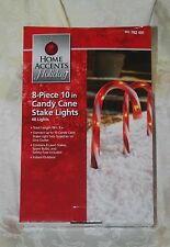 "SET 8 CHRISTMAS HOME ACCENTS YARD CANDY CANE 10"" PATHWAY WALKWAY DRIVEWAY LIGHTS"