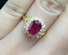 14K Solid Gold Cluster Diamond Ring, Natural Ruby 2.5CT &Diamond 0.45CT, Sz7.25