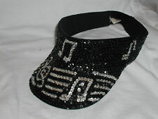 GLITTERING BLACK SEQUIN MUSIC NOTE VISOR JAZZ ROCK BAND ORCHESTRA GOLF GARDEN