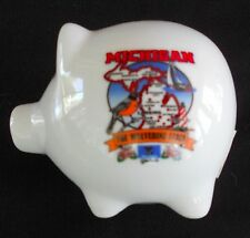 Michigan Piggy Bank Featuring State Nickname, BIrd and Flower  NEW