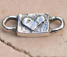 Chunky Heart Connector Link in Sterling Silver 357d