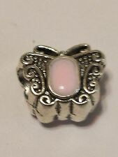 New European Charm Silver  Pink Butterfly on both sides. Buy1,19 more ship