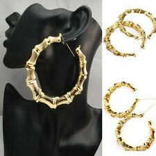 Charming Gold Bamboo Hoop Circle Earring Hiphop Punk Stud Fancy Dress Jewelry