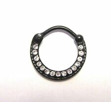 Black Titanium Clear CZ Crystals Ring Round Hoop Snap in 16 gauge 16g