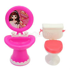 Trendy Toilet and Sink Set Bathroom Furniture Supplies Gift For Doll's House