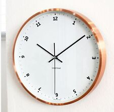 miss oh/ wall clock Metal Round Whisper Quiet Non-Ticking Rose gold metal copper