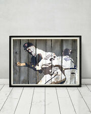 Nolan Ryan Robin Ventura Famous Baseball Fight 1993 Vintage Wood Sign Print Gift