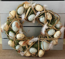 Speckled Egg Wicker & Moss Easter Wreath Vintage Chic Door Feather Gisela Graham