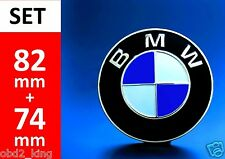 2x BMW 82+74mm blue white emblem (2pcs) hood or trunk e46 e60 e61 e39 e91