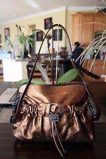 BURBERRY London Bronze Metallic Leather FARAR  Drawstring Shoulder Bag (p900