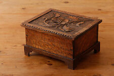 Hand carved floral wooden box possibly Black Forest carving needs repair