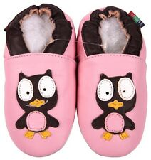 shoeszoo owl pink 6-12m S soft sole leather baby shoes