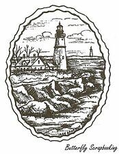 Lighthouse In Deckled Oval, Wood Mounted Rubber Stamp NORTHWOODS - NEW, M9637