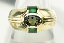 Oval Green Tourmaline Enamel 14K Yellow Gold Wide Ring Band Sz.8