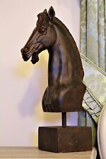 Large 42 Cm Bronze Resin Heavy Horse Head Pose Bust on Stand Ornament Statue
