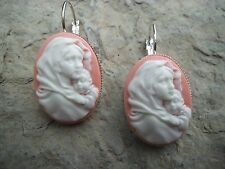VIRGIN MARY AND JESUS CAMEO LEVER BACK FRENCH EARRINGS!! QUALITY!!! CHRISTMAS