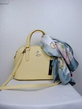 NWT $245 DKNY Handbag Yellow Satchel Bryant Park Saffiano Leather and Scarf RARE