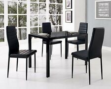 Black Glass Dining Table and with 4 Faux Leather Chairs Rectangle Modern Kitchen