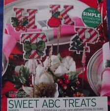 SWEET ABC TREATS COLOURFUL CANDY CANE CHRISTMAS ALPHABET ABC CROSS STITCH CHART
