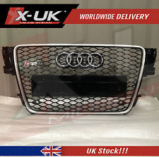 RS5 STYLE FRONT GRILL GLOSS BLACK & ALUMINIUM SURROUND FOR AUDI A5 S5 2007-2012