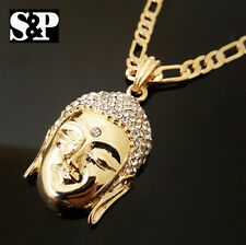 "New 14K Gold PT 3D CZ BUDDHA HEAD Pendant w/ 24"" Figaro Chain Hip Hop Necklace"