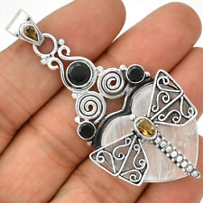 14g Dragon Fly - Selenite 925 Silver Pendant Jewelry SP223269