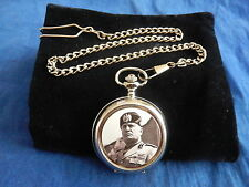 MUSSOLINI CHROME POCKET WATCH WITH CHAIN (NEW)