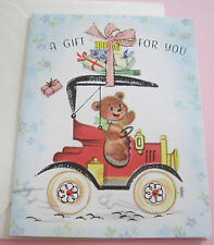 Unused Vtg Little Gift Card Cute Bear in Old Car w Presents on Top