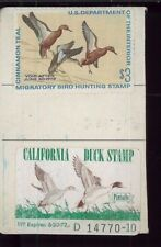 CALIFORNIA DUCK STAMP RW38 + CA #1 (used) On 1972 Hunting/ Fishing License  - 06