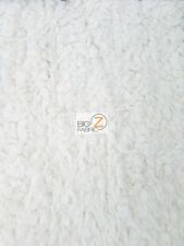 "SOLID MONGOLIAN SHAGGY MINKY BABY SOFT FABRIC - White - 66"" WIDE BY YARD BLANKET"