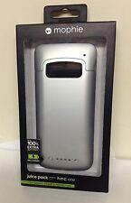 NEW Mophie Juice Pack Rechargeable External Battery Case for HTC ONE M7 - Silver
