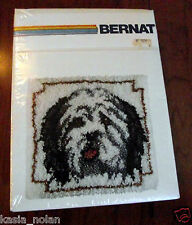 "Vtg New Bernat Latch Hook Kit Sheep Dog Rug Wall Hanging Hooking 15""x15"" Puppy"