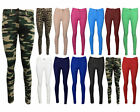 Womens Button Jeggings Ladies Pullup Fit Skinny Coloured Stretchy Trousers Jeans