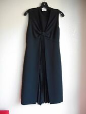 Auth MOSCHINO Black Pleated Front Sleeveless Dress Size 8 Made in Italy