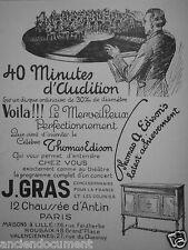 PUBLICITÉ 1927 40 MINUTES D'AUDITION SUR UN DISQUE ORDINAIRE - J.GRAS PARIS