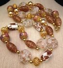Vintage Venetian Murano Glass Wedding Cake Copper Foil Bead Necklace Exquisite