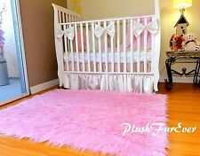 "48"" x 58"" Pink Mongolian Plush Faux Fur Nursery Rectangle Area Rug Modern Sheep"
