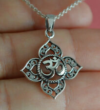 925 Sterling Silver Lotus Flower Ohm Charm Necklace - Yoga Om Namaste Necklace
