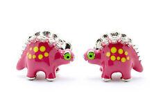 Deakin & Francis Sterling Silver Enameled Pink Dinosaur Cufflinks
