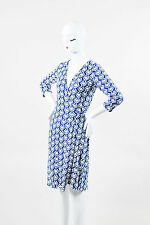 "Diane von Furstenberg Blue & White Jersey Knit ""New Julian Two"" Wrap Dress SZ 4"