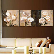 3 Pcs Home Decor Art Painting Brown Orchid Flower Modern Picture Oil Canvas Wall