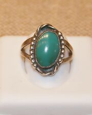 Estate Vintage Turquoise Pawn Shop Find Ring size 9! 1950's