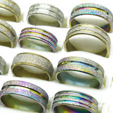 Wholesale 10Pcs Fashion Stainless Steel Mixed Color Style Lines Scrub Rings T6