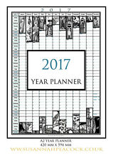 2017 Year Planner, A2, Wall Planner, black & White, Susannah Peacock, Animals