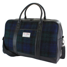 Black Watch Tartan Harris Tweed Overnight Bag Viaggio Zainetto LANA Faux Leather
