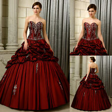 New Burgundy Embroidery Quinceanera Dress Ball Gown Pageant Prom Wedding Dresses