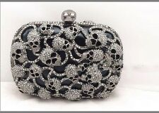 Luxury Skull Swarski Crystal Beaded Clutch Handbag Party Wedding Black Purse